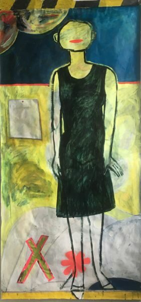 Crossing the Yellow Line  42 x 86  acrylic on paper