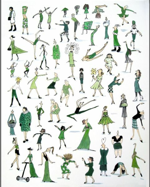 Green Ladies 11x17 hand colored print  SOLD