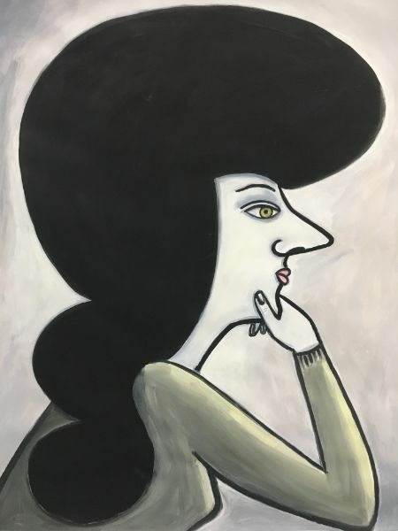 HAIRESS  acrylic on paper 34 x 46
