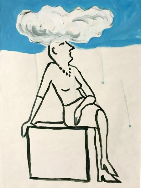 Head in the Clouds  ink & acrylic on paper 11x14 SOLD