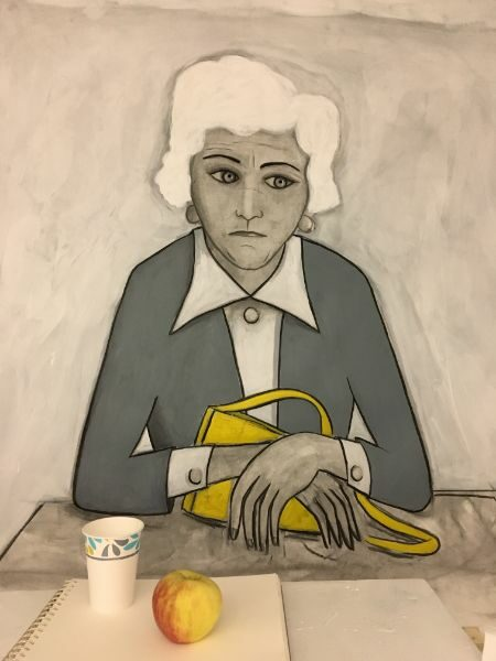 The Waiting Room  charcoal, acrylic on paper - real cup and apple  40 x 50