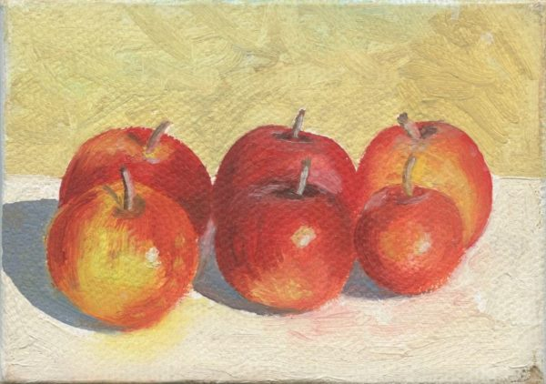 Six Apples  2.5 x 3.5  oil on canvas  SOLD
