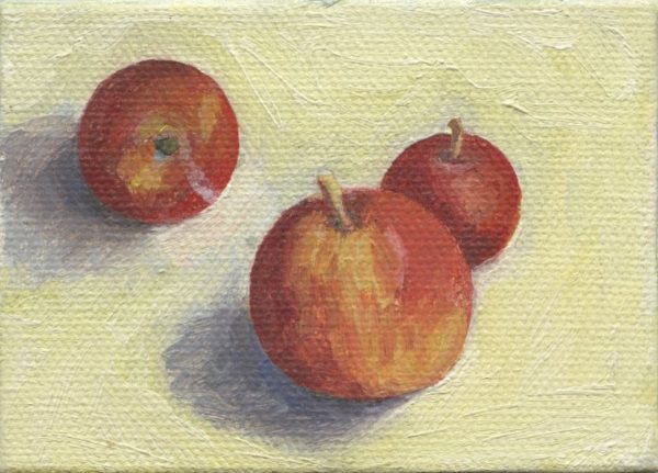 """Three Apples 2.5"""" x 3.5""""  oil on canvas SOLD"""